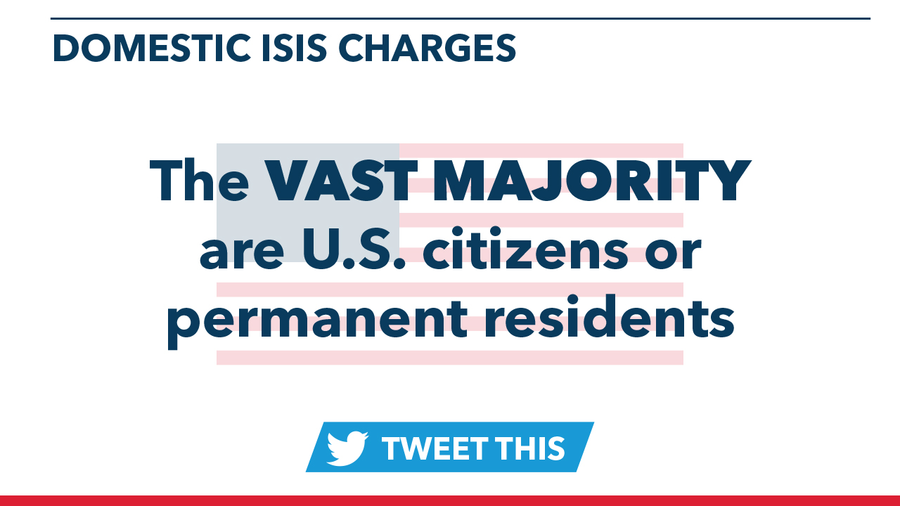 The vast majority of domestic ISIS charges are US citizens or permanent residents